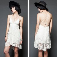 <img class='new_mark_img1' src='https://img.shop-pro.jp/img/new/icons20.gif' style='border:none;display:inline;margin:0px;padding:0px;width:auto;' />【LIP SERVICE】BAD MOON RISING CROCHET LACE DRESS-IVORY(SIZE:M)
