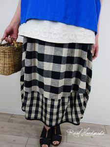 [予約販売]  コットンリネンブロックチェックバルーンスカート