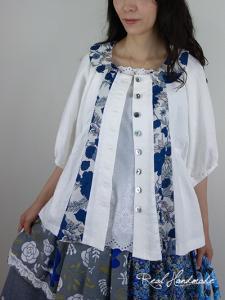 [予約販売] ヨーロッパオフリネンとリネンネイビーブルーフラワードルマン羽織りブラウス