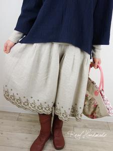 [予約販売]   リネンスカラップブラウン刺繍タックパンツ