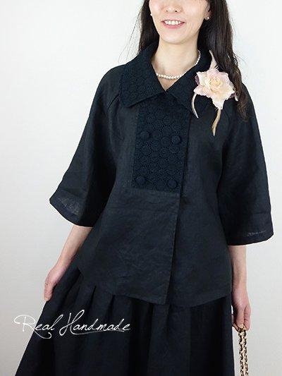 ヨーロッパブラックリネンサークル刺繍Wジャケット