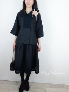 [予約販売] ヨーロッパブラックリネンサークル刺繍タックスカート