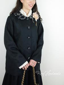 [予約販売] ヨーロッパブラックリネン襟ケミカル丸襟ジャケット