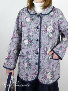 [予約販売] コットンリネンアンティークフラワー丸襟ジャケット
