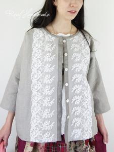 [予約販売]  ヨーロッパリネンチュールレースドロップ羽織りカーディガン