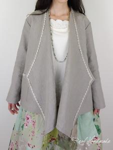 [予約販売]ヨーロッパリネンレース羽織りカーディガン