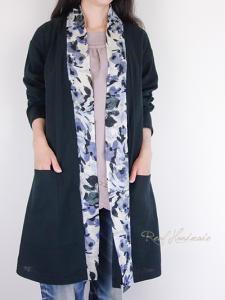 [予約販売] ブラックWガーゼ水彩画フラワーボータイ羽織りカーディガン
