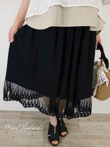 [予約販売] スラブWガーゼブラックチュールレーススカート