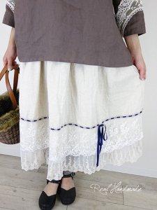[予約販売] コットンリネンWガーゼチュールレースリボン通しスカート