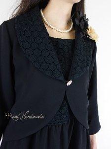 [予約販売]ブラックジョーゼットサークル刺繍アンサンブルワンピース