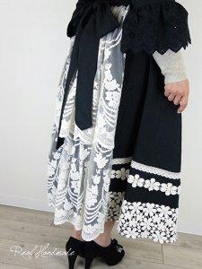 [予約販売] ヨーロッパブラックリネンバックチュールレーススカート