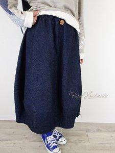 [予約販売]  リネンデニムバルーンスカート