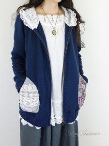 [予約販売] キルトニットネイビーとボーダーレースパッチ羽織りパーカー