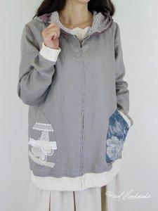 [予約販売]ヨーロッパグレージュリネンレース羽織りパーカー