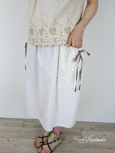 [予約販売]  フォーンドットドビー切替ギャザーポケットスカート