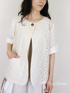 [予約販売]  ダンガリー刺繍とサークルレースジャケット