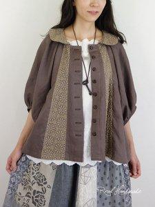 [予約販売] ヨーロッパモカリネンレースドルマン羽織りブラウス
