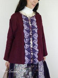 [予約販売] ヨーロッパバーガンディドロップ羽織りブラウス