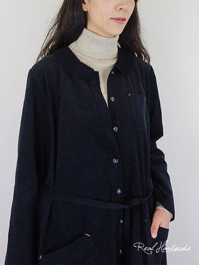 シャツコールブラック丸襟羽織りワンピース