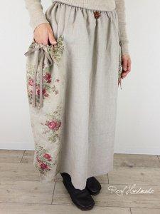 [予約販売] ヨーロッパリネンアンティークフラワー切替ギャザーポケットスカート