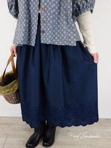 [予約販売]  ネイビースカラップギャザースカート