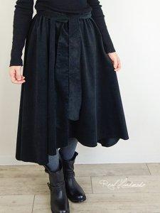 シャツコールブラックヘム変形スカート