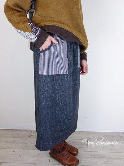 ブラックデニムヒッコリースカート