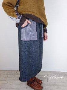 [予約販売] ブラックデニムヒッコリースカート