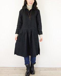 ヨーロッパブラックリネンピンタックシャツワンピース