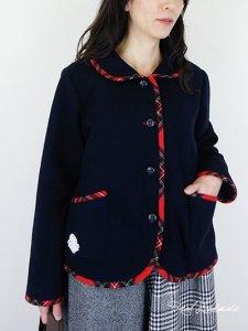 [予約販売] ネイビーウールとタータン丸襟ジャケット