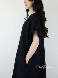 [予約販売]しっとり柔らかブラックリネン袖フリルワンピース