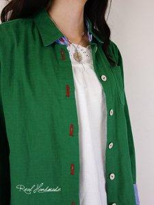 エバーグリーンWガーゼクルミボタンシャツ