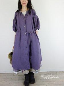 [予約販売]モーブWガーゼドロップ羽織りワンピース