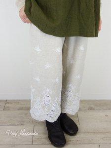 [新作予約]リネンスカラップ刺繍半端丈パンツ