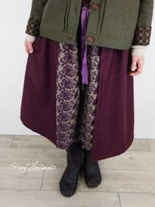 [新作予約]ボルドーウールと起毛ビエラ刺繍重ねスカート