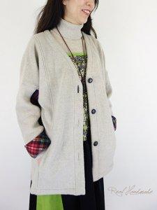 ラスト![新作予約] ボアとタータンドロップ羽織りジャケット