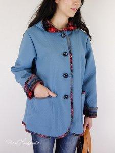 キルトニットブルーと起毛タータンパーカージャケット