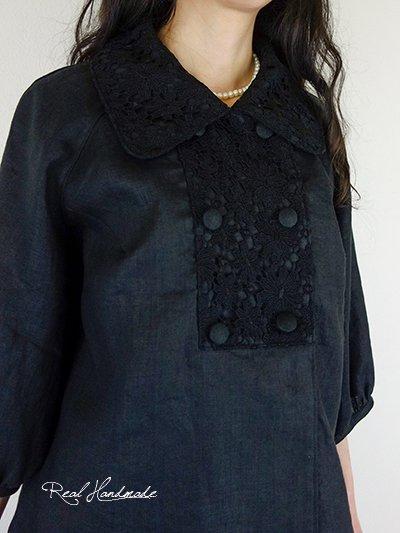 [予約販売]ヨーロッパブラックリネンケミカルレースWジャケット