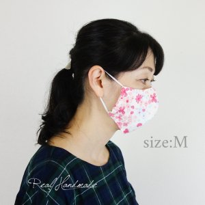 [予約販売]紫陽花水彩画WガーゼPKリバーシブル立体マスク *サイズM