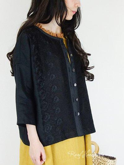 [予約販売] ヨーロッパブラックリネンチュールレースドロップ羽織りカーディガン