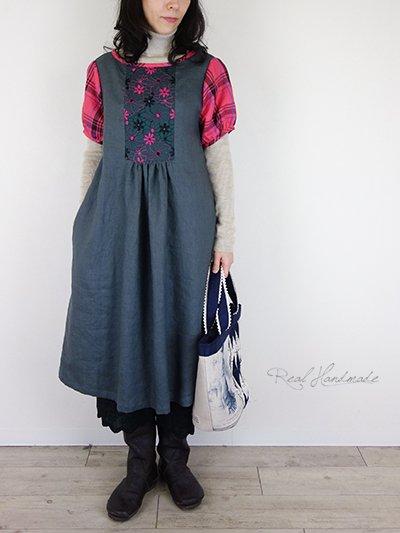 チャコールリネンと刺繍タータンパフワンピース