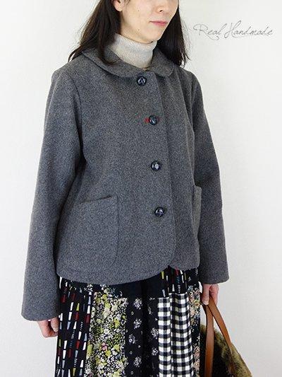 ウールツイードチャコール丸襟ジャケット