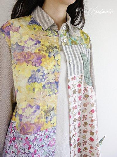 コットンリネンワッシャーストライプとリバティパッチワークシャツ
