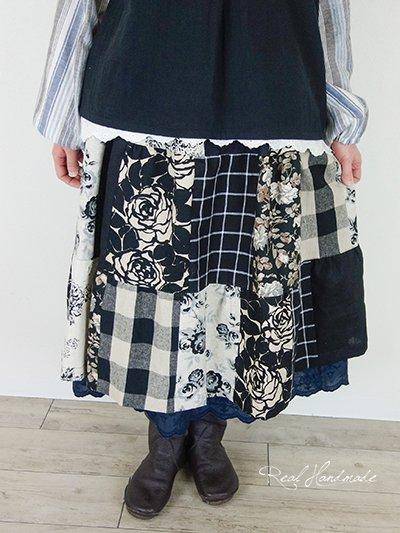 リネンパッチティアードスカート☆ブラック
