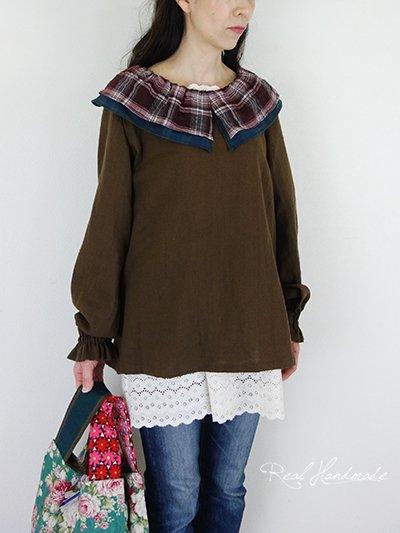 Wガーゼチョコワッシャー襟タータン袖フリルプルオーバー