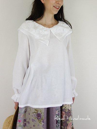 [予約販売] Wガーゼホワイト襟ラッセルレースプルオーバー