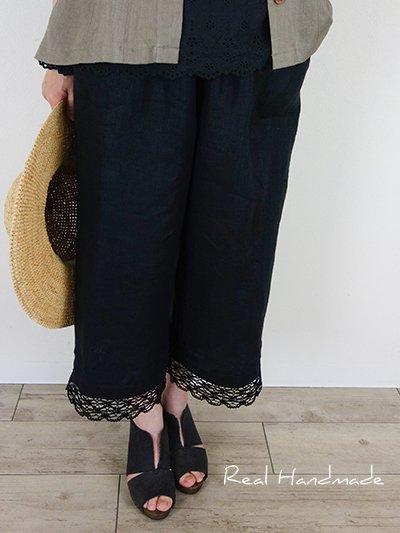 ヨーロッパブラックリネンピンタック半端丈パンツ