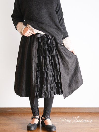 ブラックリネンチュールレース見せかけスカート