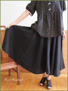 [予約販売] ブラックリネンサーキュラースカート