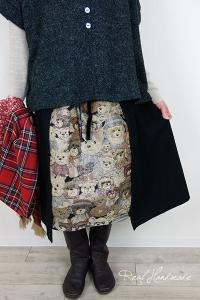 [予約販売] フランネルブラックとテディベアゴブラン見せかけスカート